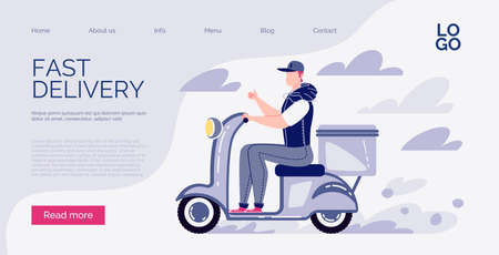 Website template. Online Delivery Concept. Fast home and office delivery. Vector. Illustration. Cartoon style.