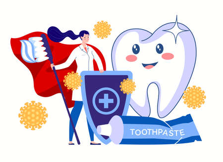 A dental hygienist, a hero in a red cloak with a toothbrush and toothpaste, stands guard for the health and beauty of teeth. Protection against bacteria. Dental hygiene concept. Vector flat cartoon illustration. Illusztráció