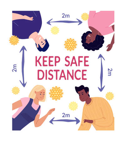 A poster reminding us to keep our distance during an epidemic. The arrow between the young people indicates the distance between them two meters. Vector illustration.