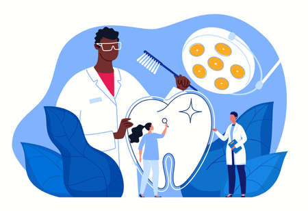 Dentist examination. Dentistry and healthcare concept - clean and neat teeth. White healthy teeth, professional dental care. Vector flat cartoon illustration.