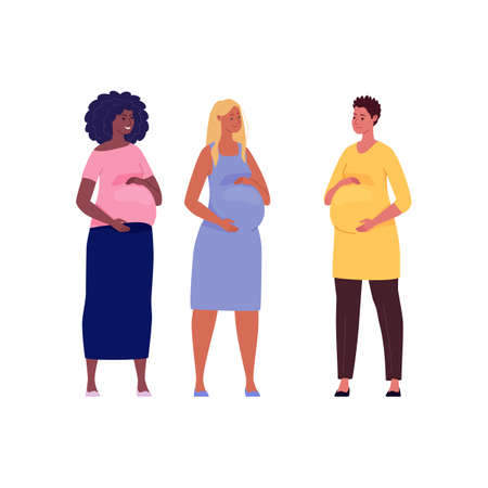 Set of beautiful pregnant women hugging their big bellies. Illustration. Vector in a flat cartoon style.