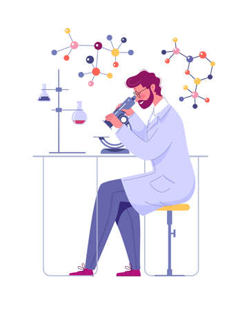 A doctor looks through a microscope in a laboratory and conducts a study. Laboratory Researcher, Biochemist, Researcher, Scientist. Vector Illustration Cartoon Flat.