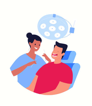 A female dentist holds instruments for examining a patient's teeth. The patient sits in the dentist's chair with his mouth open. Dentistry and healthcare concept. Vector flat cartoon illustration.