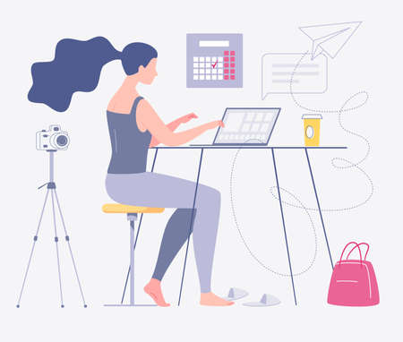Freelance work. Young female photographer is working at home on a computer. Home interior, coworking. The concept of self-employment. The character. Flat cartoon style. Illustration.