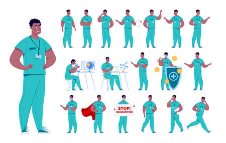 Doctor character creation set with various poses and gestures. Isolated. Male doctor. Stock fotó