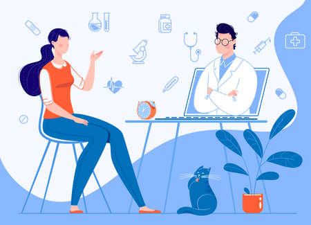 Woman patient at home sitting on a chair consults with a doctor through a laptop. Online medical care concepts. Background infographics illustration: icons of medical supplies. Rastr Illustration flat