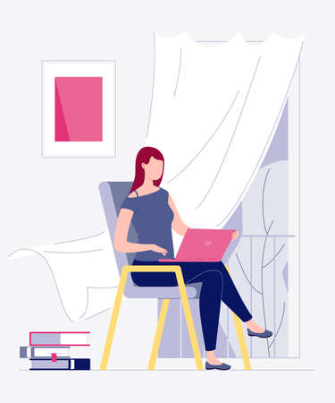 Freelance work. A young woman works at home on a computer. Home interior, coworking. The concept of self-employment. The character. Flat cartoon style. Illustration. Stock fotó