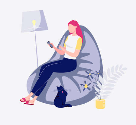 Freelance employee works home quiet pace, convenient time. Young modern woman sitting sofa, chatting social networks phone comfortable setting. Flat cartoon.