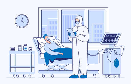 Intensive care of a seriously ill patient. A sick man lies in a medical bed on artificial lung ventilation. Illustration. Flat style.