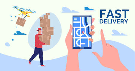 Online Delivery Concept. Fast home and office delivery. Illustration. Cartoon style. Stock fotó
