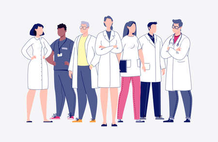 Team of doctors in cartoon style. The concept of the medical team. Doctors, nurses, orderlies - medical staff. Rastr. Illustration in flat style. Stock fotó