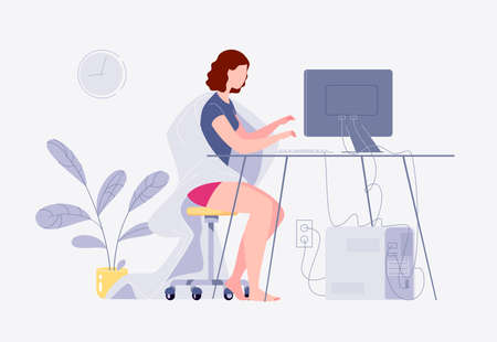 Freelance work. A young woman works at home on a computer. Home interior. The concept of self-employment. The character. Flat cartoon style. Illustration. Stock fotó