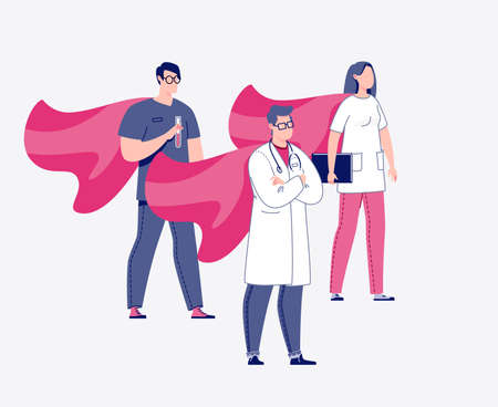 Doctor, laboratory assistant, nurse in cloaks of superheroes. Rastr. Illustration in a flat cartoon style.