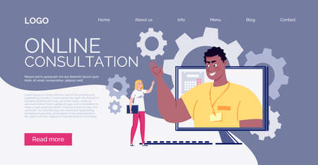 Website Template. E-learning, online learning. Technology and digital culture. The teacher teaches the student online. Vector illustration.