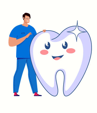 Dentistry and healthcare concept. White healthy teeth, professional dental care. Vector flat cartoon illustration.