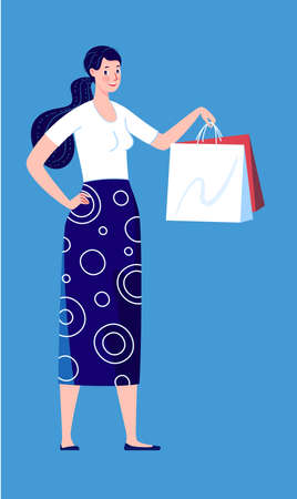 Buyer. Woman with packages from the store. Vector illustration. Illusztráció