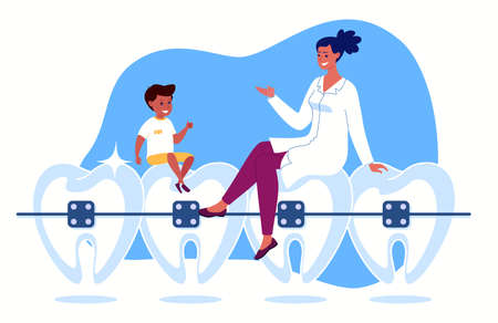 Ose-up beautiful straight white teeth with braces. The doctor and the boy are sitting, talking, smiling. Vector Flat Cartoon illustration.