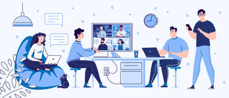 Freelance people work in comfortable conditions. Work at home coworking, space. Videoconference and online meeting. Self Employment Concept. Vector. Flat cartoon style. Illustration. Illusztráció