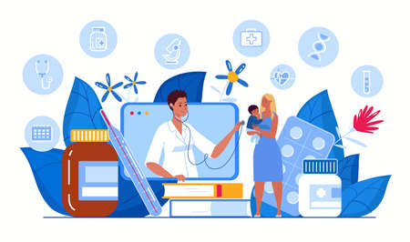 Online doctor consultation concept. Ask a doctor. Family doctor online. Medical diagnostics via the Internet. Mother and child talking, consulting a doctor using a tablet. Vector flat illustration.
