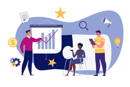 Business team metaphor. The concept of building a business system, solving problems, brainstorming, recruiting, teamwork, collaboration. Vector illustration in flat cartoon style. Illusztráció