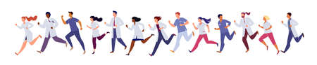 Group of running people in medical gowns on an isolated white background. The lifestyle of a doctor in a hurry to save lives. Flat vector cartoon illusion.