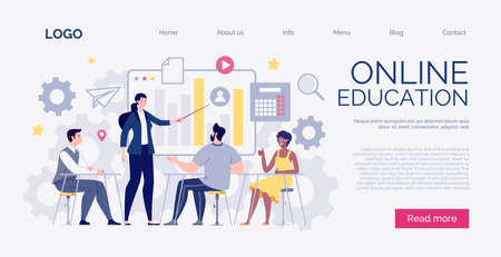 Website template. The concept of staff training, meeting, business, teamwork. Digital scool. Vector illustration in cartoon flat style.
