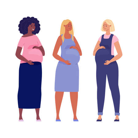 Set of beautiful pregnant women hugging their big bellies. Illustration.