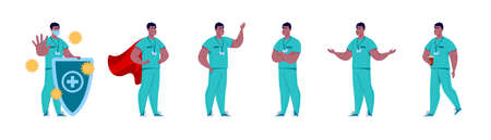 Doctor in various poses. Character design set. Illustration in a flat cartoon style.