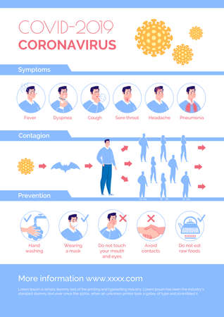 Epidemiological coronavirus informational poster: symptoms, prevention, contagion. Cartoon flat illustration. Stock fotó