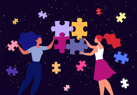 Teamwork. Interaction of partners and colleagues, problem solving. The concept of creating a business system and building a team. Flat illustration. Business people put together a puzzle. Illusztráció