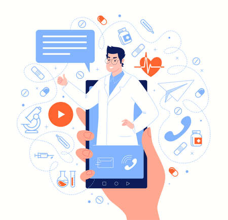 Doctor on smartphone screen in messenger chat. Online medical services, consultations, support. Vector flat cartoon illustration.