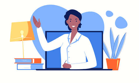 Online doctor consultation on a laptop screen. Video call to a therapist from home. Flat vector illustration.