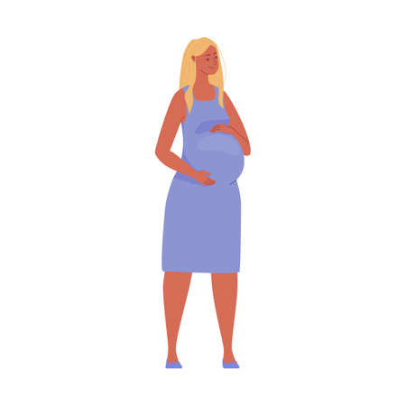 Beautiful pregnant woman hugging her big belly. Illustration. Vector in flat cartoon style.
