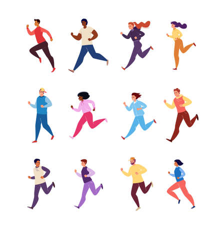 Set of Running Male and Female Characters Athletes in Tracksuits Isolated on White Background. Vector Flat Cartoon.
