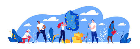 Illustration of people working in the park Illusztráció