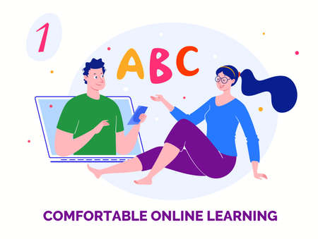 E-learning, distance learning. Modern vector illustration of educational concept for online platforms, websites, mobile applications.