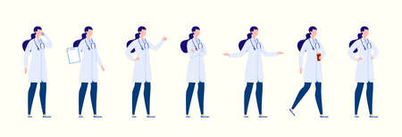 Doctor in various poses. Character design set. Vector illustration in a flat cartoon style.