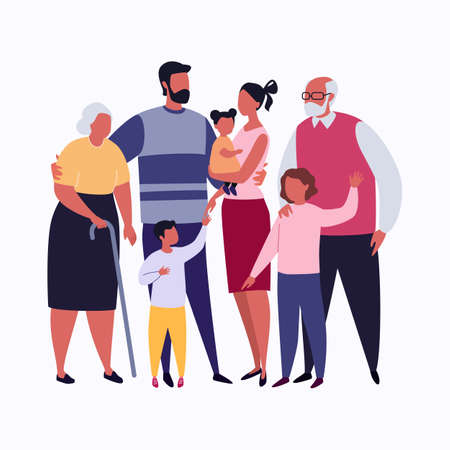 Big Family Together. Vector Illustration in Flat Cartoon Style.