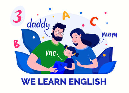 E-learning. Internet courses. Home schooling. English for children. Vector flat cartoon illustration for educational site.