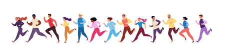 Marathon Race. Running Men and Women in Tracksuits. Colored Isolated Trendy Characters Sportsmen. Vector Flat Cartoon Illustration.