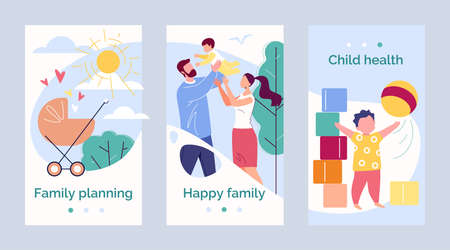 Happy Family Father, Mother and Child Against the Backdrop of Nature and the Bright Sun. Template Design Health and Family Planning. Vector Illustration in Flat Cartoon Style.