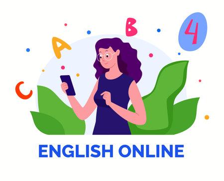 E-learning, distance learning. Modern vector illustration of educational concept for online platforms, websites, mobile applications