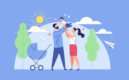 Happy Family Father, Mother and Baby in the Background of Nature and the Shining Sun. Vector Illustration in Flat Cartoon Style. Illusztráció