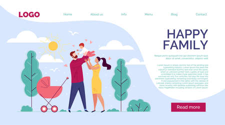 Happy Family Father, Mother and Baby in the Background of Nature and the Shining Sun. Template Design with Text, Button. Vector Illustration in Flat Cartoon Style.