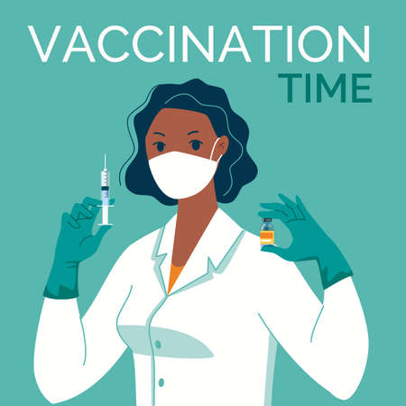 Doctor in mask, latex gloves with syringe and vaccine in his hands. Vaccination time. Vector illustration. Cartoon. Flat.