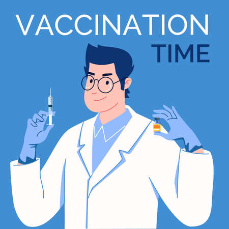 Doctor in latex gloves with syringe and vaccine in his hands. Vaccination time. Vector. Illustration. Flat. Cartoon