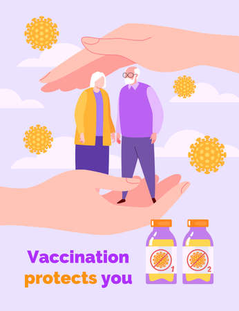 Vaccination Concept. Hands Protect the Old Couple from the Virus. Vector Illustration in Flat Cartoon Style.