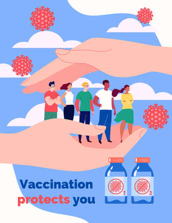 Vaccination concept. Hands protect people from the virus. Men and women queuing up for the vaccine. Vector illustration in flat cartoon style.