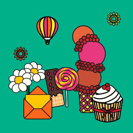 desert party decoration made balloon pop art style Ilustração