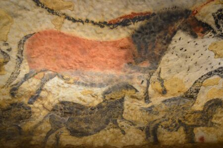 Prehistoric ornament Lascaux cave depicting a horse. 17000 BC